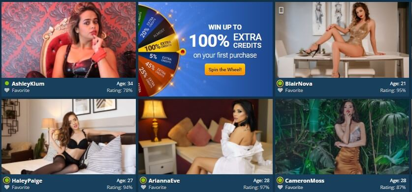 Special Live Cam Deal - Spin the Wheel bonus - Review by Adultcamguide.net